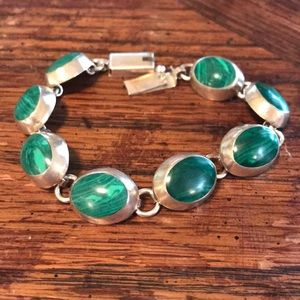 "Sterling & malachite 8"" bracelet"